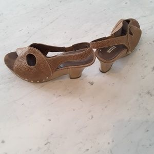 Tan textured leather wedge shoes